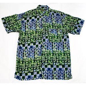 Robert Stock Short Sleeve Button Front Silk Shirt